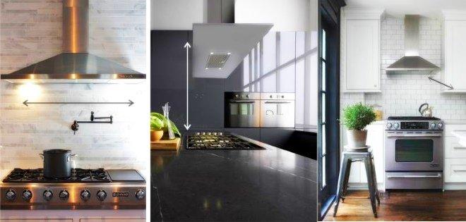 Размер кухонной вытяжки - один из самых важных параметров при выборе