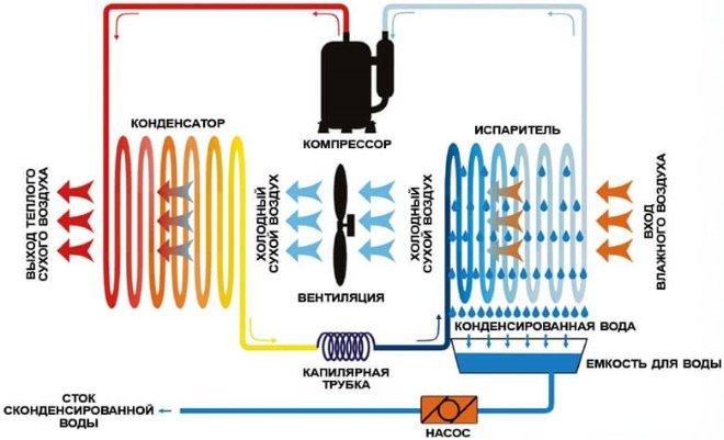 Принцип работы бытового осушителя воздуха