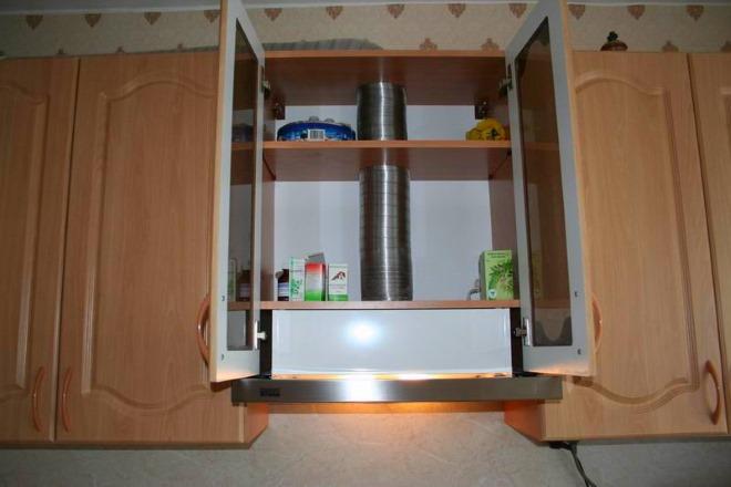 вытяжка, встроенные в кухонный гарнитур